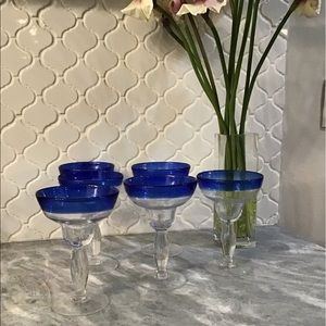 Pier 1 Margarita Glasses Hand Blown